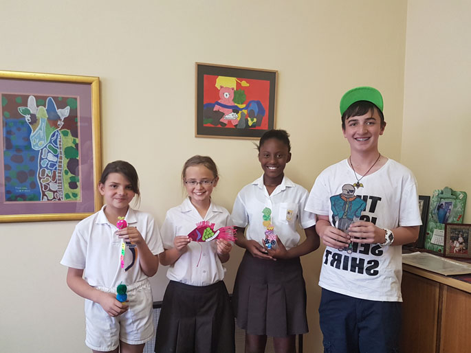 Diella Corregador - Gr4, Rhianne Wood - Gr5, Karabo Ndaba - Gr6, Calvin Tancrel - Gr7 - Winners of the Bookmark for Readethon at School Level